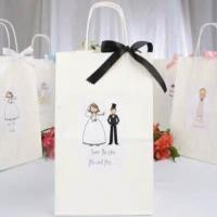 China Custom logo White Art paper , Kraft paper Gift Shopping Bags With Ribbon , handle wholesale