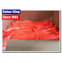 China Orange 100 % Polyester Webbing Roll For Heavy Duty Lifting Sling wholesale