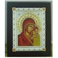 China Russia Eastern Orthodox Polished Silver Icon Virgin Mary wholesale
