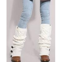 China Warm White Knitted Leg Warmer , Beautiful Wool Leg Warmers wholesale