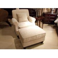 China Transitional Arm Chair And Ottoman , Cream Tan Fabric Lounge Chair for Bedroom wholesale