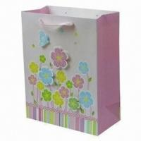 China Fresh Printed Delicately Flower Pink Colorful Printing Hnadle Paper Bag for Gift wholesale