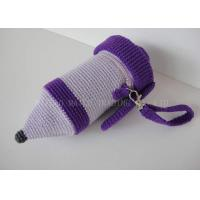 Knitting Pattern For Mug Holder : Pencil Shape Crochet Mug Holder Purple Knitted Cup Sleeve ...