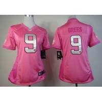 China cheap wholesale women Nike New Orleans Saints 9 Brees pink jersey with heart wholesale