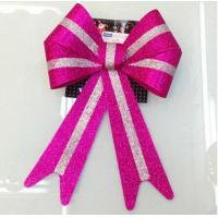 Quality Metallic PVC Holiday Decoration Ribbon Bow Tie , wrapping glitter ribbon bow for sale