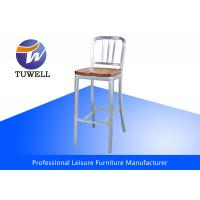 China Durable Aluminum EMECO Navy Stool With Wooden Seat / Metal Bar Stools / Navy Dining Chairs wholesale