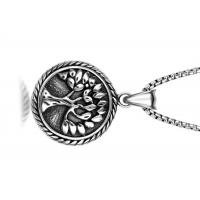 China Vintage Stainless Steel Pendant Necklace , Peaceful Tree Pattern Round Pendant Necklace wholesale