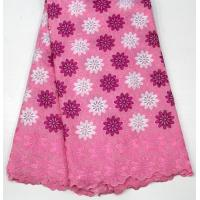 China Swiss Cotton Lace Fabric , Multi Colored Embroidered Floral Lace Fabric For Abayas wholesale
