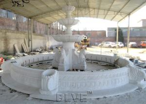 China Marble Horse Water Fountain Large White Stone Fountains Hand Carving Garden Decoration wholesale