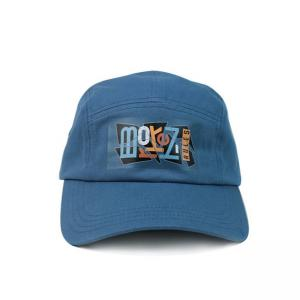 China Twill 5 Panel Camper Hat With Screen Printed Nylon Webbing wholesale