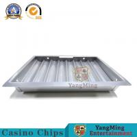 China Premium Bright Silver 8 Rows Round Clay Ceramic Poker Chips Set Tray Casino Chips Single Layer Carrier on sale
