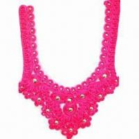 Buy cheap Collar Motif, Made of Satin Material and Mesh Base, Sewn with Silver Studs from wholesalers
