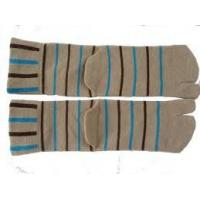 China OEM Autumn Anti-Bacterial Pure Cotton Knitted Adults Two Toe Socks With Black+Blue Stripe on sale