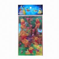 China Lenticular sticker/3D hologram sticker, available in various sizes/colors, easy to apply and remove wholesale