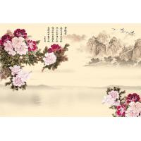 China Peony Bamboo Fiber Fiber Wall Panels Crystal Surface For Restaurant Background Wall wholesale