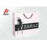 China Pretty Custom Paper Shopping Bags With LOGO And Black PP Rope wholesale