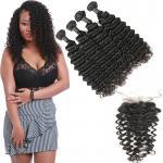 China Unprocessed Authentic Brazilian Hair Extensions 4 Bundles With 4 * 4 Lace  Closure wholesale