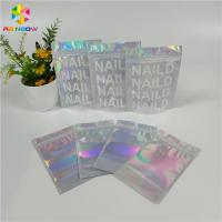 China Glossy Mylar Make Up Cosmetic Organizer Bag Holographic Foil Clear Window With Custom Logo wholesale
