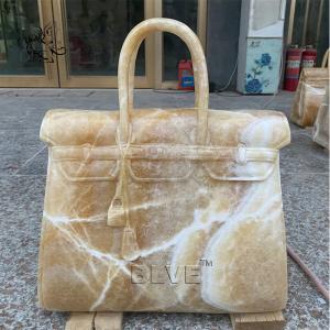 China Beige Marble Bag Sculpture Stone Luxury Famous Brand Handbag Life Size Shopping Mall Decoration wholesale