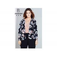 China Trendy Floral Print Plus Size Ladies Clothing For Young Women Open Front Waterfall Jacket wholesale