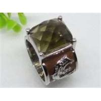 China Emerald handmade jewelry Semi Precious Stone Stainless Steel  Rings  with gold Plating wholesale