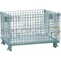China Foldable Galvanized Wire Container Storage Cages , Mobile Storage Cages With Side wholesale