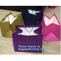 China Laminated Customized Luxury Retail Shopping Packaging Logo Gold foil Paper Bags For Clothes / Clothing with Ribbon Bow wholesale