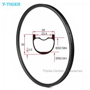 China 7-tiger NEW 30 x 30 mm Width Carbon Fiber 27.5er Mountain Bike Clincher Rim Tubeless Compatible ud matte wholesale