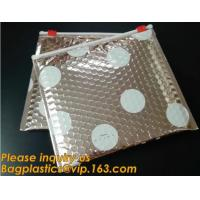 China Factory Shiny Rose Gold Silver Cosmetic Zipper Bubble Bag Self Adhesive Plastic Pe Material Mailer Zip Lock Padded Bag, wholesale