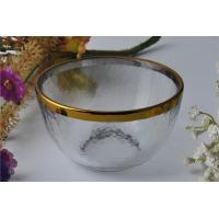 China 7oz High White Glass Candle Bowl Tealight Holder with Golden Rim wholesale