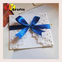 Luxurious white wedding banquet invitation card 15 by 15cm with blue ribbon