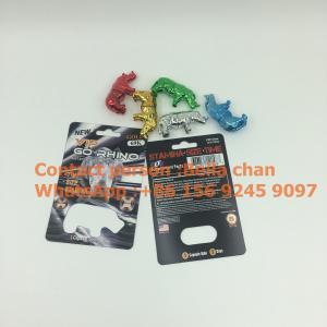 China Shinny Silver / Gold sex pill Rhino toys for Go Rhino packaging, Metal Rhino shape bottles wholesale