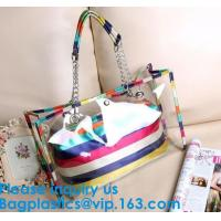 China PVC Waterproof outdoor Travel Shopping Bags Fashion Lady Colorful Striped Beach Bags Waterproof Outdoor Beach Bean Bag on sale