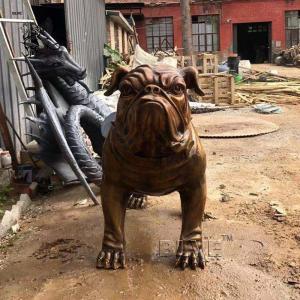 China Bronze French Bulldog Statue Garden Metal Animal Life Size Home Decoration Modern Art Sculpture wholesale