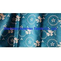 China Teal Blue Beachwear Fabric Microfiber Peach 2/2 Twill Paper Print W/R Finish 200GSM wholesale