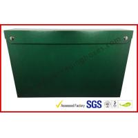 China Leather Paper Material Magnet Folder Box , Green Color Office Storage Box wholesale