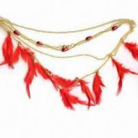 China Chain Necklace with Beads and Feathers, Size and Color is Subjected to Change wholesale