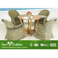 Customized Outdoor Dining Furniture Sets With Solid Wood Table / 4 Rattan Chairs
