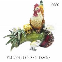China Hot sale antique rooster cock animal shape metal hand painted decortive jewelry box wholesale