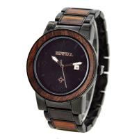 China Luxury Metal and Red Sandalwood Wristwatch / Men Wooden Watches For Festival Gift wholesale