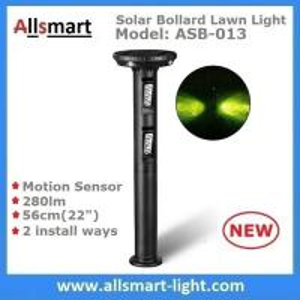 China 56cm/22 inch Solar Motion Sensor Bollard Lawn Lights Solar Motion Sensor Yard Lights 280lm for Garden Decor & illuminate on sale
