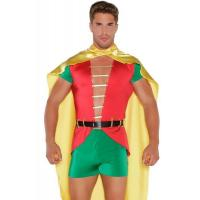 China Sexy Costumes Wholesale Spandex Satin  Red Green Yellow Boy Sidekick Costume with S to XL wholesale