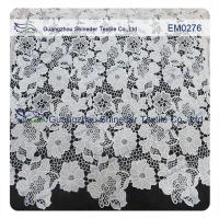 China Mesh polyester lace Fabric White Flower  Embroidered Lace material for girls dress wholesale
