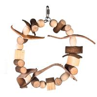 China natural wooden bird toys block ring with chewing beads and leather for conure wholesale