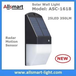 China Solar Wall Light 25 LED Solar Garden Lights Decorative Fence Radar Sensor Motion Light Warm White Solar Fence Lights wholesale