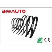 China Black Large Electrical Cable Ties , Pvc Coated Stainless Steel Heat Resistant Zip Ties wholesale