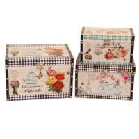 China decoration antique vintage square printing leather wooden storage box trunk organizer trunk box on sale