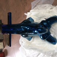 China Interior Metal Art Sculptures Gem Blue Abstract Metal Sculptures Stainless Steel 316 Electroplated wholesale