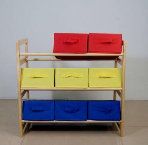 China 60CM Height Kids Playroom Furniture Toy Organizer With Nine Fabric Storage Bins on sale