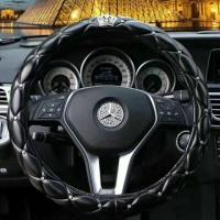 China factory offer embroidery hot sell black diamond car steering wheel cover wholesale